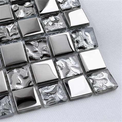 tst glass mosaic tile silver water wave kitchen