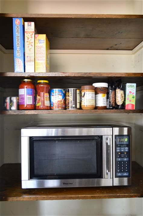 Microwave In Pantry by Adding Shelves And A Microwave To The Pantry