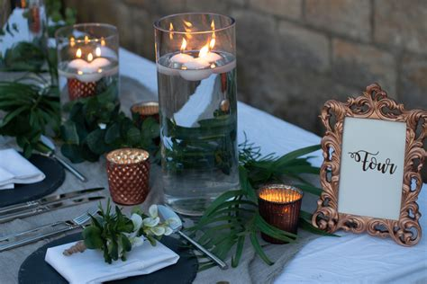 copper  grey wedding styling centrepieces table