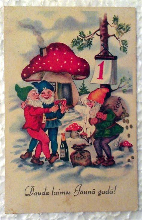 vintage postcard   year champagne gnomes gold mushroom money kobolds newyear cards