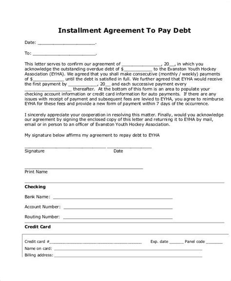 Sle Agreement Letter To Pay Debt Agreement Letter Exles