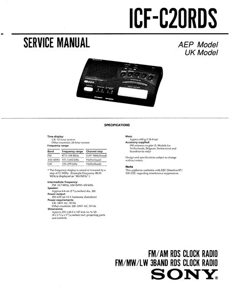 Sony Icf C20rds Service Manual Immediate Download