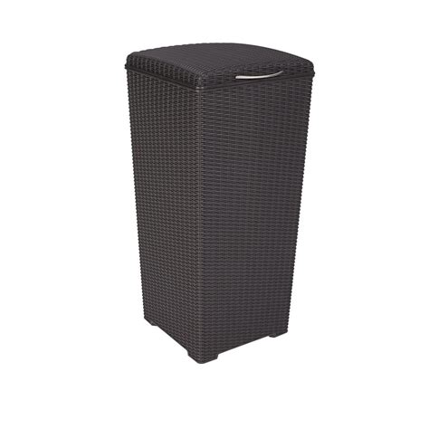 keter 30 gal brown wicker style plastic trash can 231478