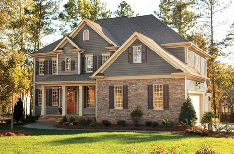 houses with brick and siding grey siding with tan brick instead of stone and cream trim do white instead this