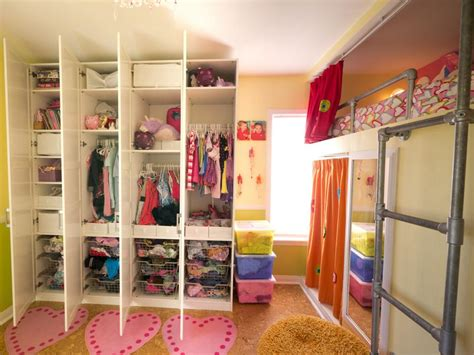 where to put your clothes in the bedroom creative shared bedroom for three girls hgtv