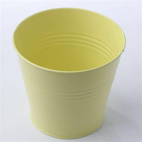 Yellow Pail Tin pastel yellow metal pail floral sale sales