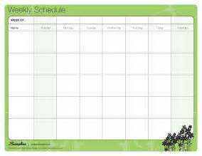 Template Schedule Weekly by Weekly Schedule Laminating Templates