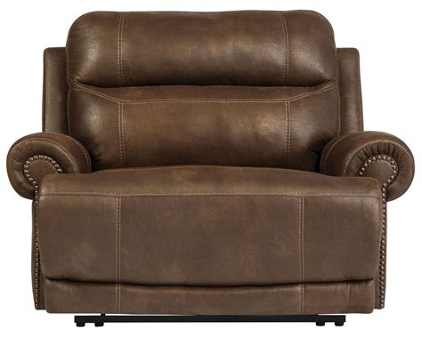 iseat recliner austere brown zero wall wide seat recliner from ashley