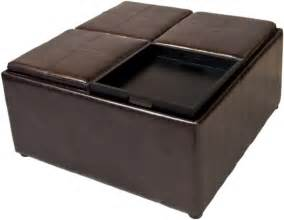Coffee Table With Storage Ottomans Simpli Home Avalon Coffee Table Storage Ottoman W 4 Serving Trays Pu Leather Brown