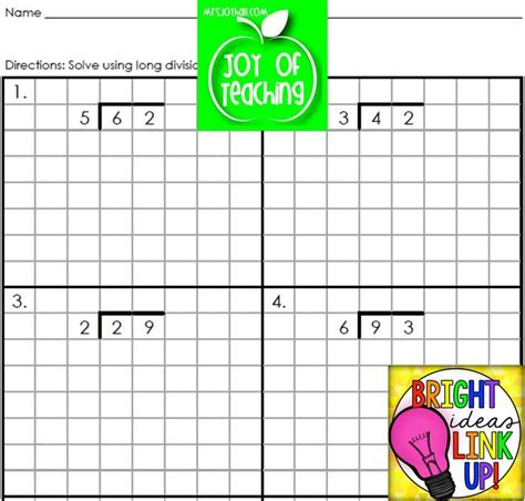 printable graph paper for division long division worksheets with grid lattice