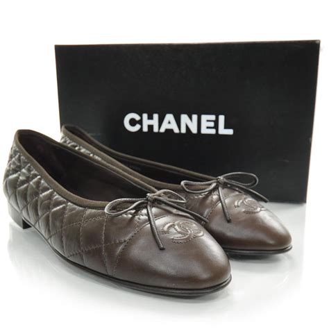 Chanel Quilted Ballet Flats by Chanel Quilted Leather Cc Ballet Flats 41 Brown 22148