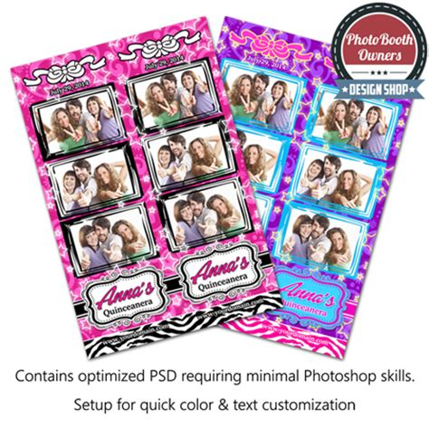 Quinceanera Celebration 3 Up Strips Photo Booth Templates Quinceanera Photo Booth Template