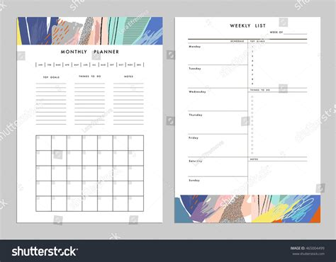 notes plus templates monthly planner plus weekly list templates stock vector