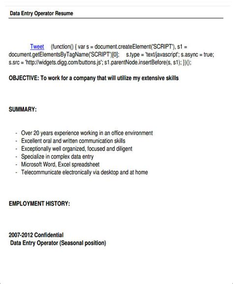 data entry operator resume 52 resume format sles sle templates
