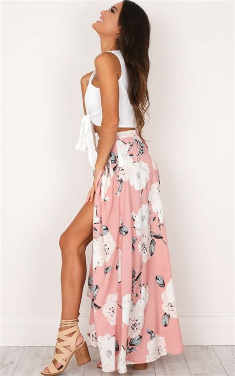 flying on neverland maxi skirt in dusty pink floral showpo
