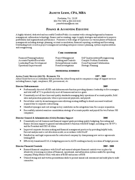 Va Resume Director Financial Systems In Richmond Va Resume Jeanette