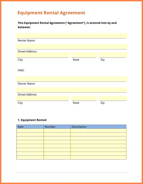 equipment rental lease agreement template 9 equipment rental agreement form template purchase