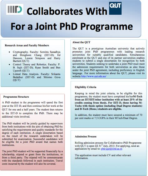 cv exles for phd student collaborative phd with qut australia open iiit delhi