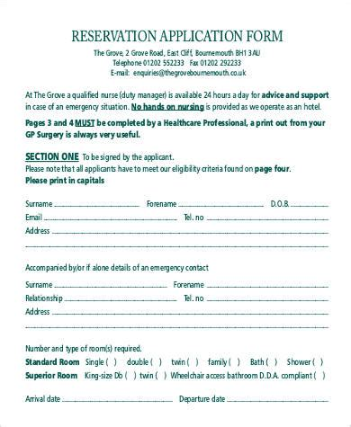 hotel reservation form template free reservation form