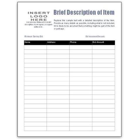 search results for silent auction bidding sheet template