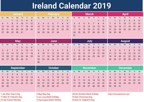 printable calendar ireland ireland 2019 calendar printcalendar xyz