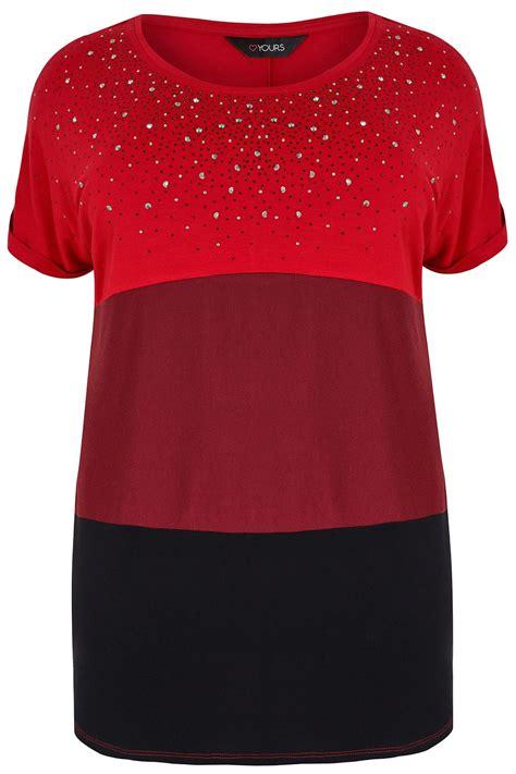 div text color burgundy black colour block top gem embellishment