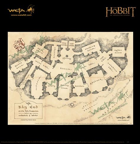 Weta Giveaways - weta workshop floor pan of bag end parchment art print