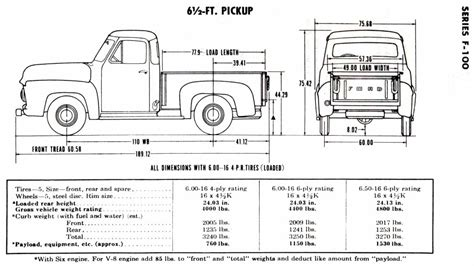truck bed dimensions ford f100 truck frame dimensions