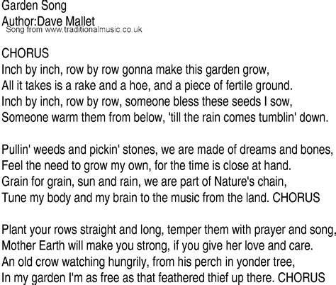 song lyrics in song and ballad lyrics for garden song