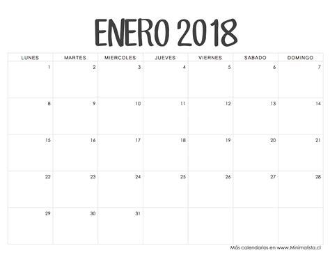 Calendario 2018 Enero Calendarios 2018 Para Imprimir Minimalista