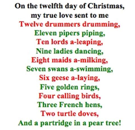 printable lyrics to 12 days of christmas 12 days of christmas no excuses style