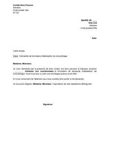 Exemple De Lettre Justificatif De Domicile Lettre De Demande De Formulaire D Attestation De Concubinage 224 La Mairie Mod 232 Le De Lettre