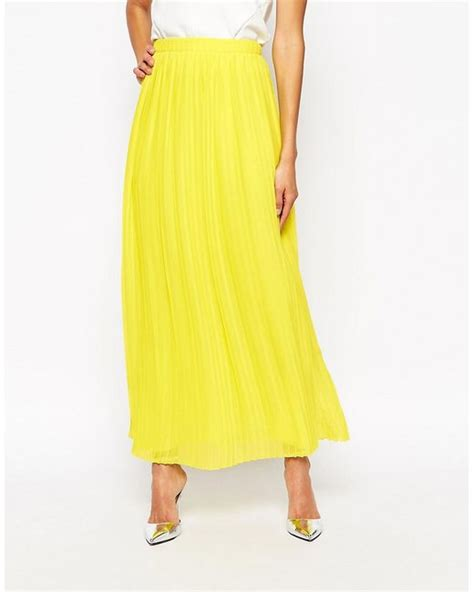 orange beflowy pleated maxi skirt in yellow
