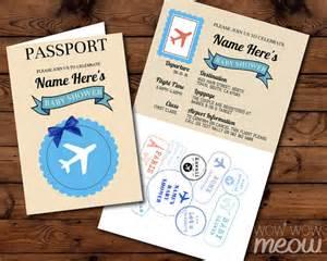 passport baby shower invitation blue airline ticket