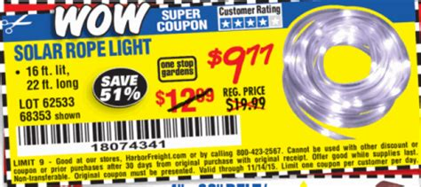 Harbor Freight Tools Coupon Database Free Coupons 25 Harbor Freight Solar Rope Light