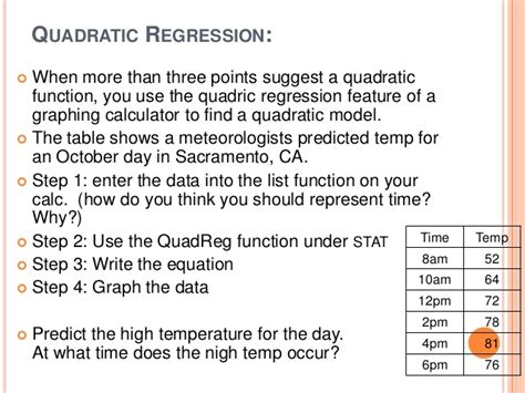calculator quadratic regression alg ii unit 4 3 modeling with quadratic functions