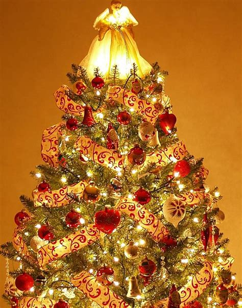 happy holiday tree ribbon trees decorated in and gold happy holidays