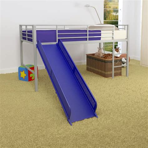 metal loft bed with slide dorel home junior fantasy loft with slide silver walmart