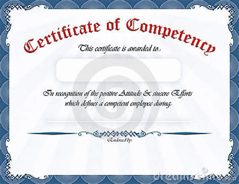 competency certificate template certificate of competency royalty free stock photo image