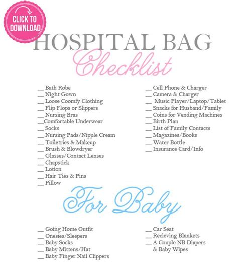 hospital checklist for c section delivery hospital bag essentials a checklist for mom and baby
