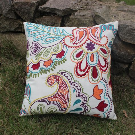 floral couch pillows vezo home embroidered vintage retro floral sofa cushions