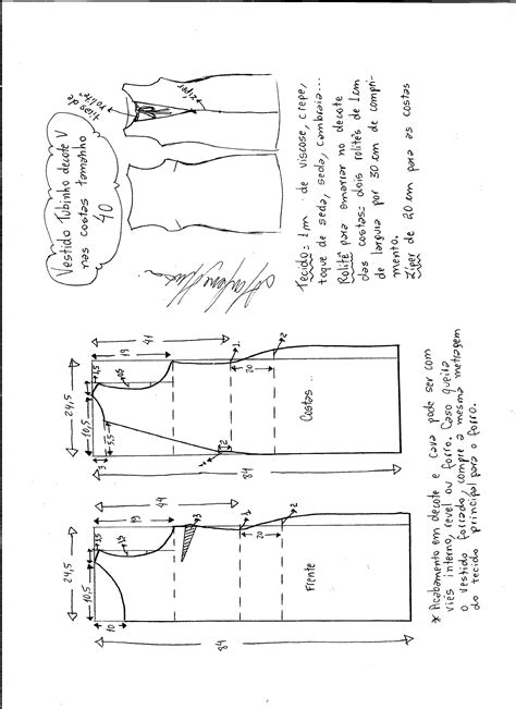 esquema de vestido vestido tubinho com decote v nas costas diy molde