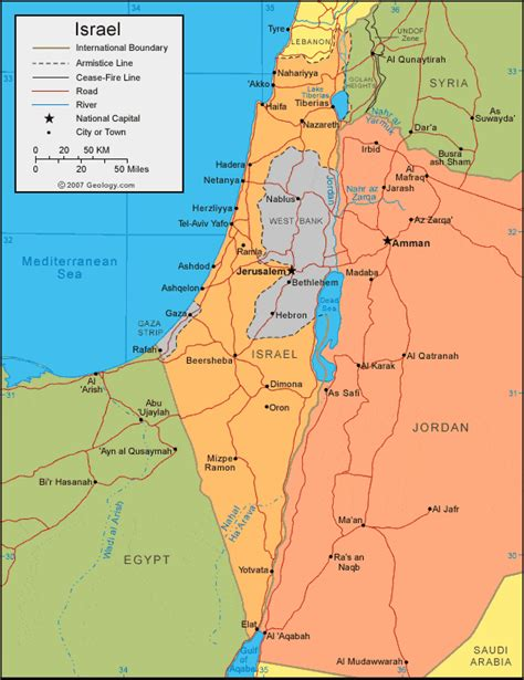 map of isreal israel map and satellite image