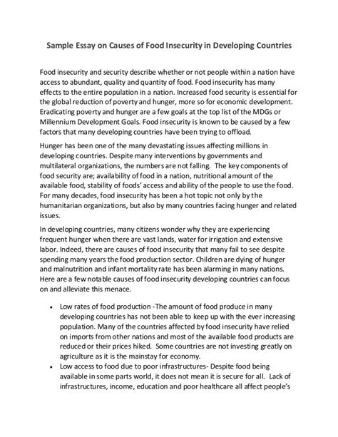 Food Security Bill In India Essay by Sle Essay On Causes Of Food Insecurity In Developing Countries