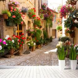 Printed Wall Murals European Street Scenery Mural Wallpaper Flower Full Wall
