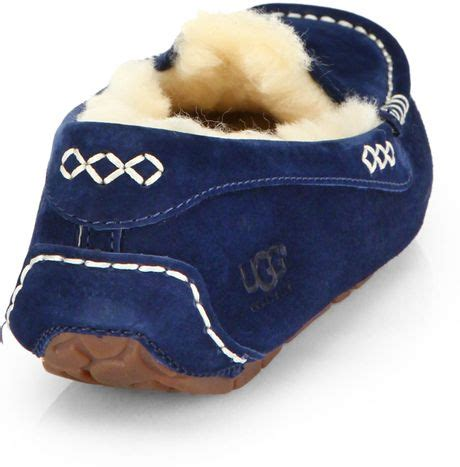 navy blue ugg slippers ugg ansley suede shearlinglined slippers in blue navy lyst
