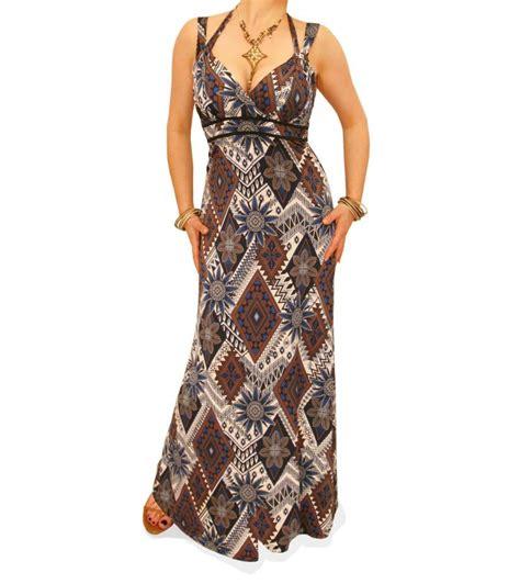 Etnic Maxy Dress navy blue and mocha ethnic print maxi dress