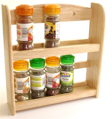 Spice Jar Stand Wooden 2 Tier Spice Rack Holder Holds Upto 10 Spice And