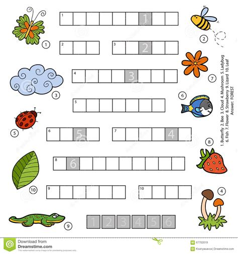 colorful flower crossword vector color crossword for children about nature stock