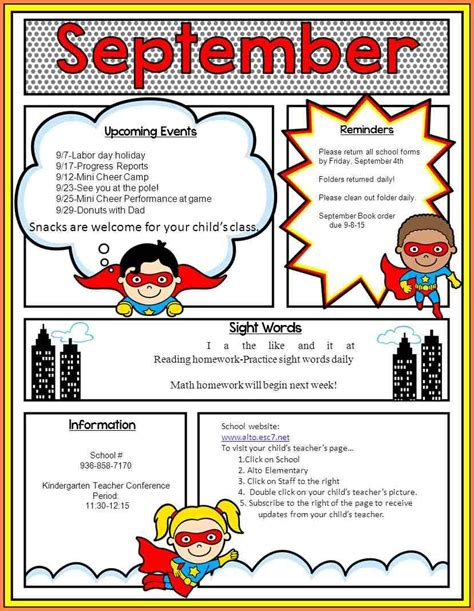 7 elementary classroom newsletter template newsletter